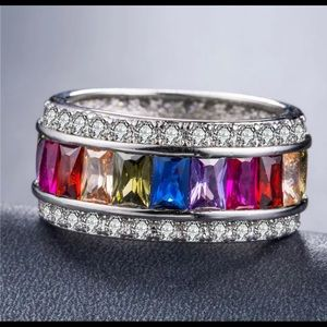 Gorgeous Sterling 925 Ring w Multi Color Baguettes